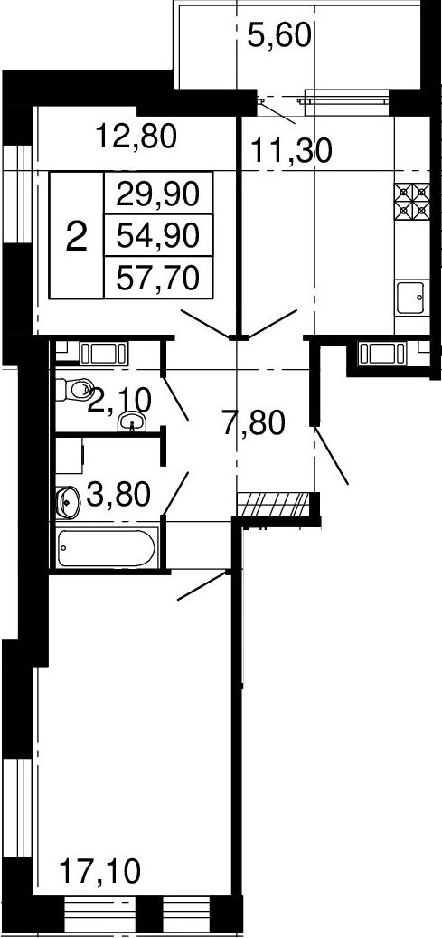 2-к.кв, 54.9 м², 6 этаж