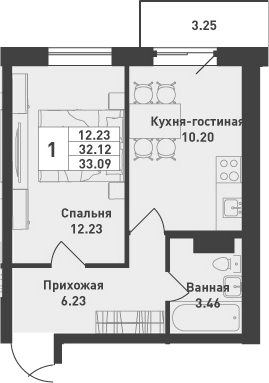 1-комнатная, 33.09 м²– 2