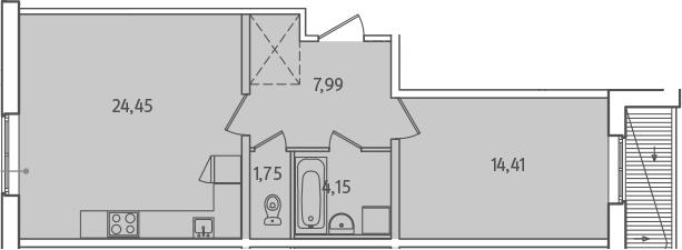 2-к.кв (евро), 52.75 м²