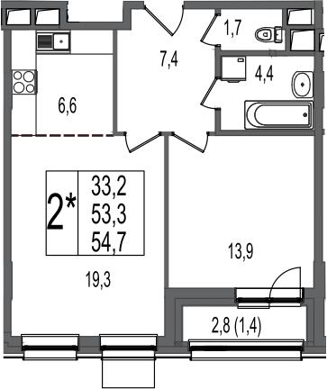 2-к.кв (евро), 56.1 м²