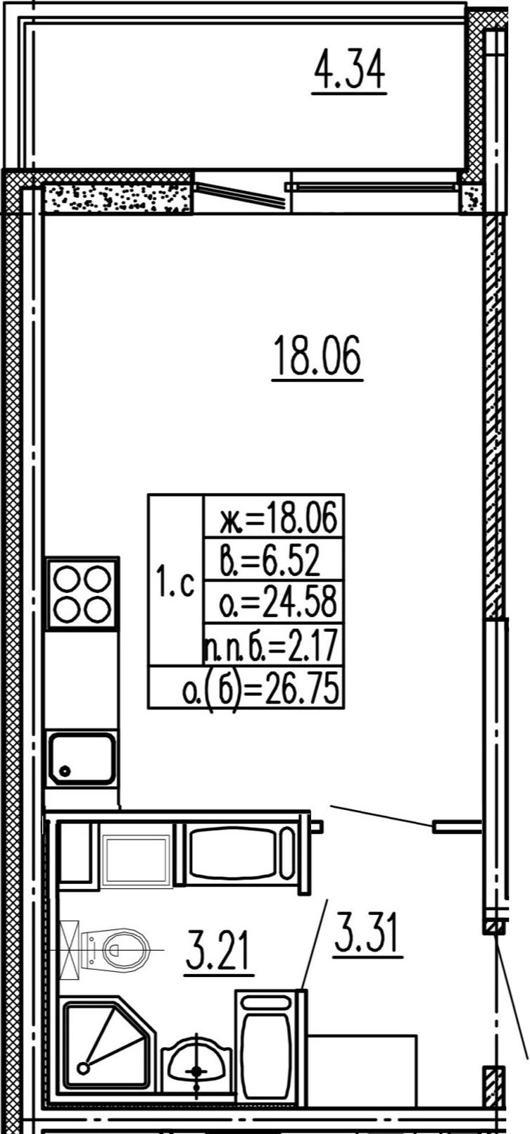 Студия, 28.92 м²