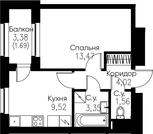 1-комнатная, 33.61 м²– 2