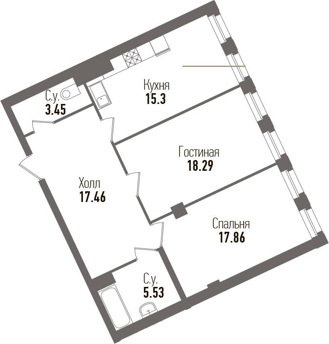 3-к.кв (евро), 77.89 м²