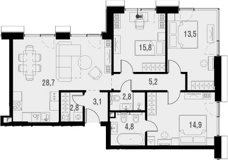 4Е-комнатная, 91.6 м²– 2