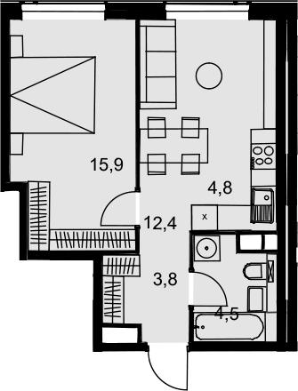 2Е-к.кв, 41.4 м², 31 этаж