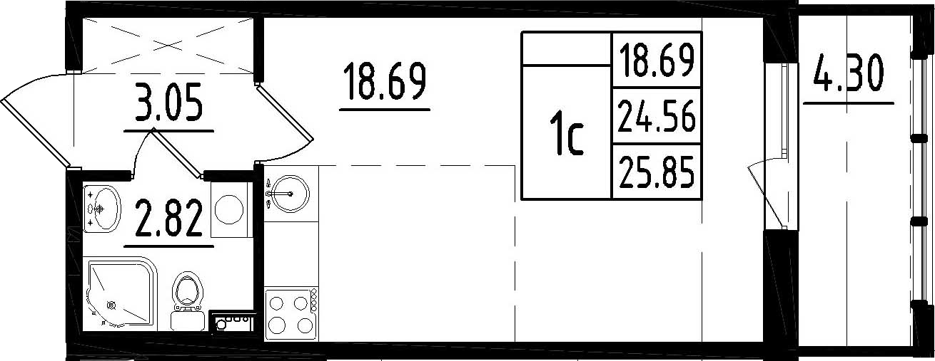 Студия, 28.86 м²