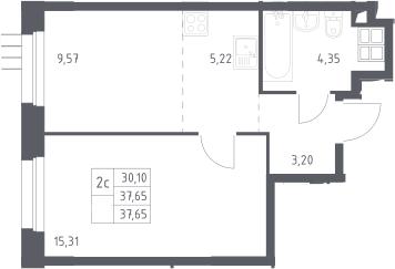 2Е-к.кв, 37.6 м², 16 этаж