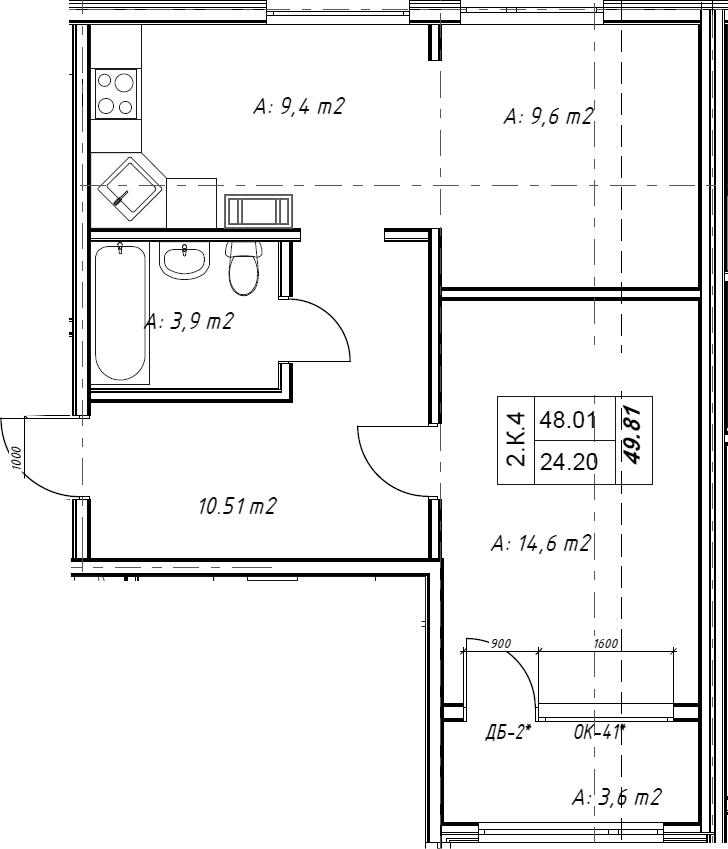 2Е-к.кв, 49.4 м²