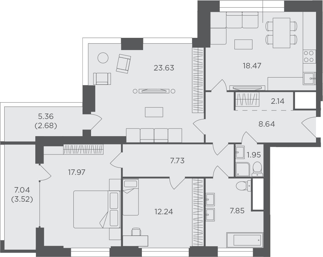 3-комнатная, 106.82 м²– 2