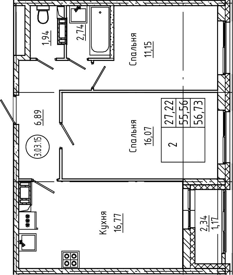 3Е-к.кв, 56.73 м²