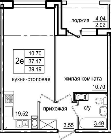 2Е-к.кв, 39.19 м², 2 этаж