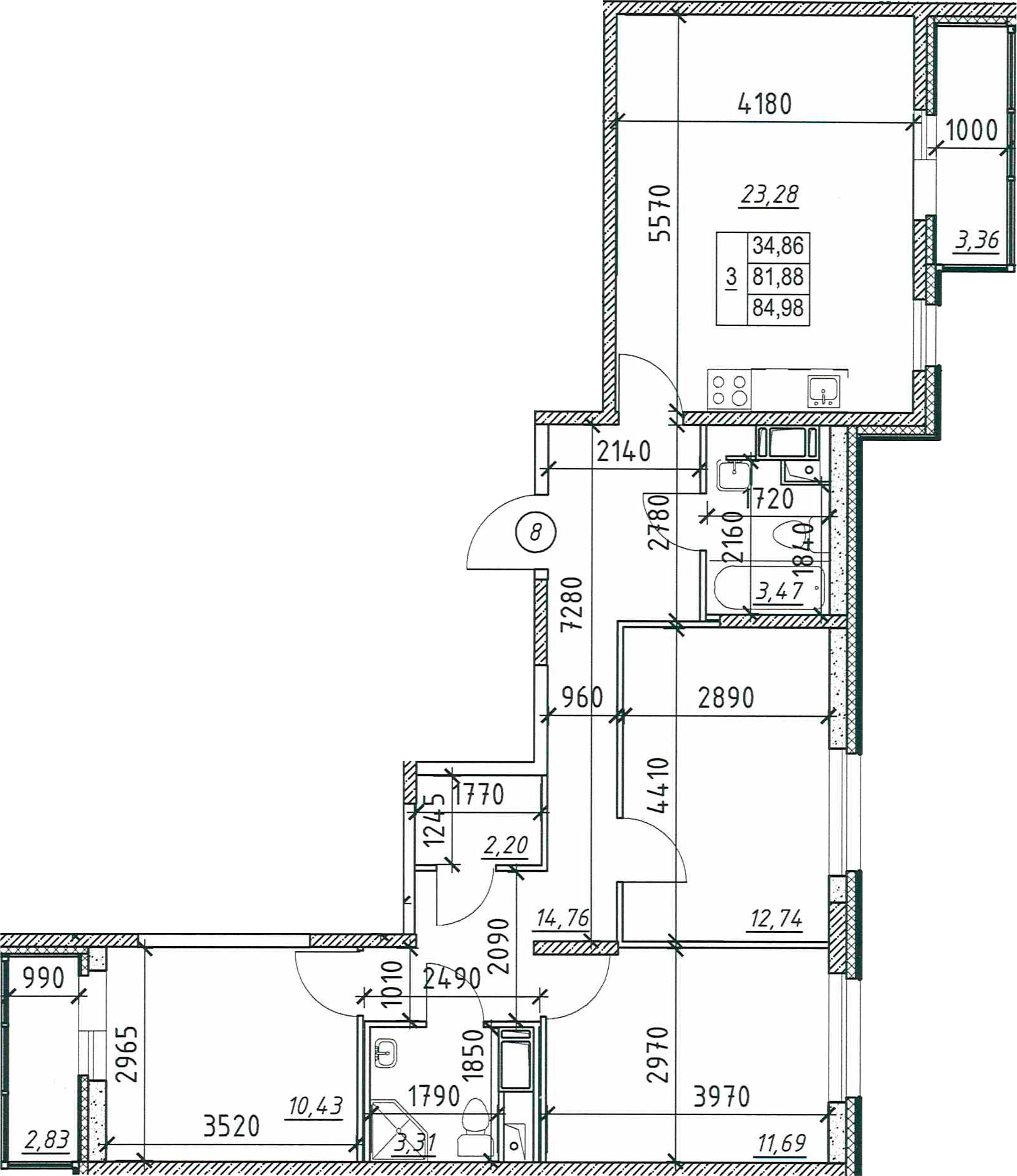 3-к.кв, 88.07 м²