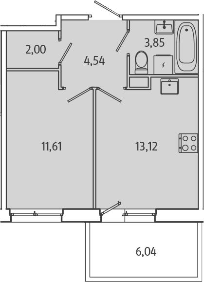 1-комнатная, 36.93 м²– 2