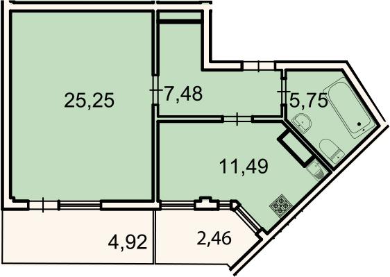 1-к.кв, 52.2 м², 3 этаж