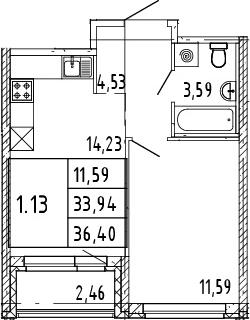 2Е-комнатная квартира, 35.17 м², 2 этаж – Планировка