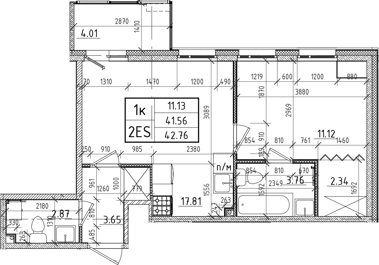2Е-комнатная, 41.56 м²– 2