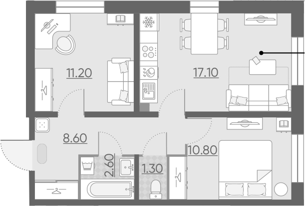 3Е-к.кв, 51.6 м²