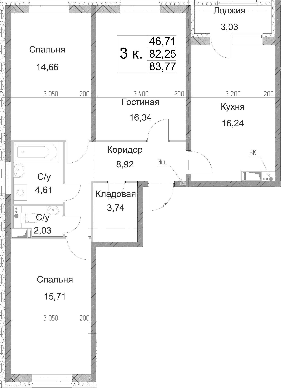 3-к.кв, 83.77 м², от 10 этажа