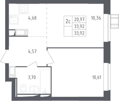 2Е-к.кв, 33.92 м², 10 этаж