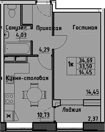 1-к.кв, 35.87 м²