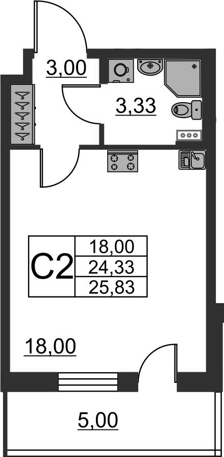 Студия, 24.33 м², 1 этаж – Планировка