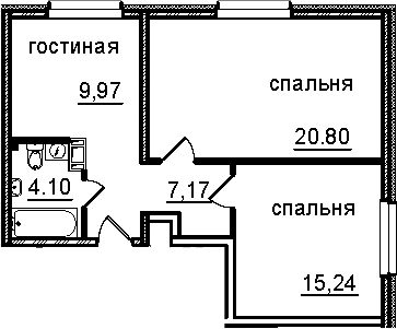 2-к.кв, 57.28 м²