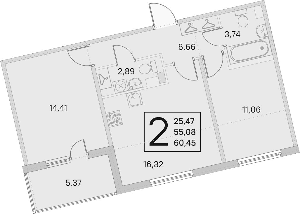 3Е-комнатная, 55.08 м²– 2