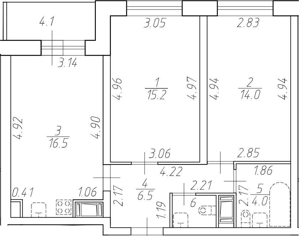 3Е-комнатная, 57.9 м²– 2