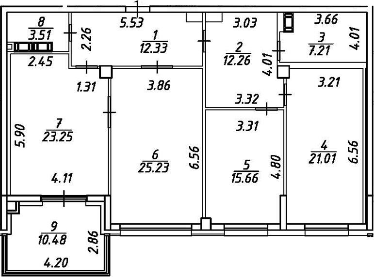 4Е-комнатная, 125.64 м²– 2