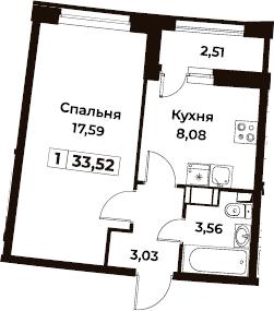 1-комнатная, 33.52 м²– 2