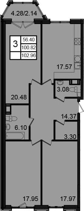 3-к.кв, 105.1 м²
