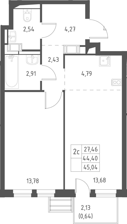 2Е-комнатная, 45.04 м²– 2