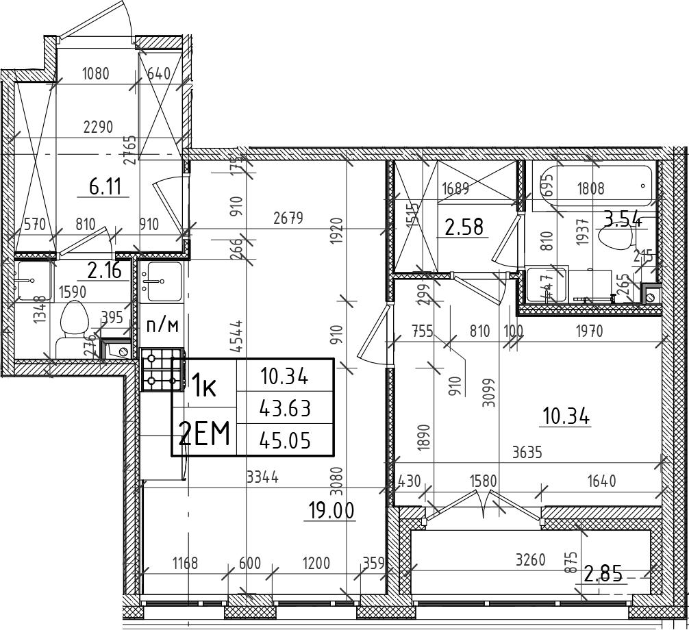 2Е-комнатная, 43.63 м²– 2