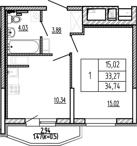 1-комнатная, 34.74 м²– 2
