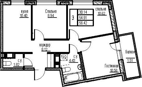 3-к.кв, 59.94 м²