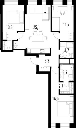 4Е-к.кв, 80.4 м², от 16 этажа