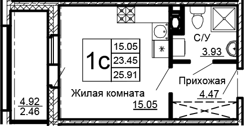 Студия, 25.91 м²