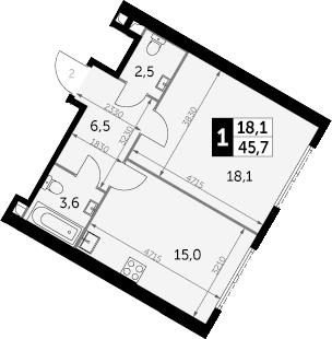 1-к.кв, 45.7 м², 12 этаж