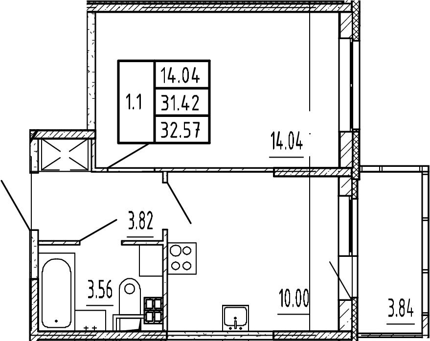 1-комнатная, 31.42 м²– 2