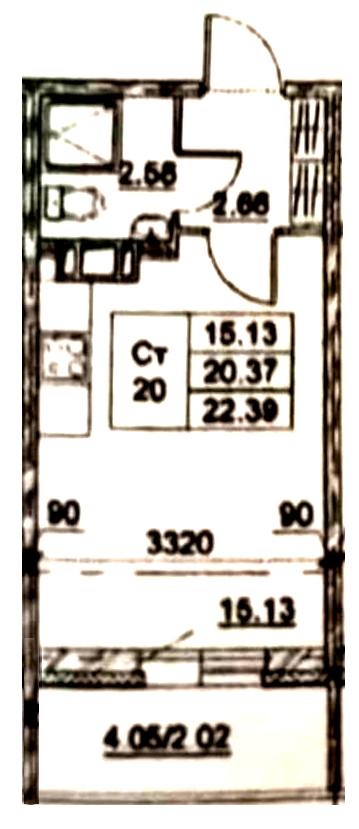 Студия, 20.34 м²– 2