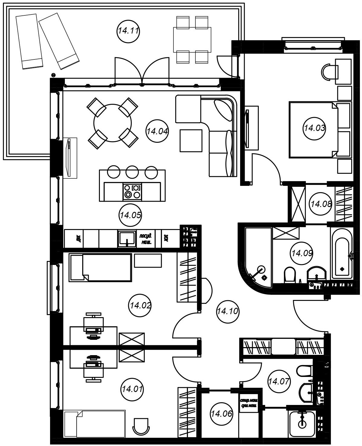 4Е-комнатная, 96.16 м²– 2