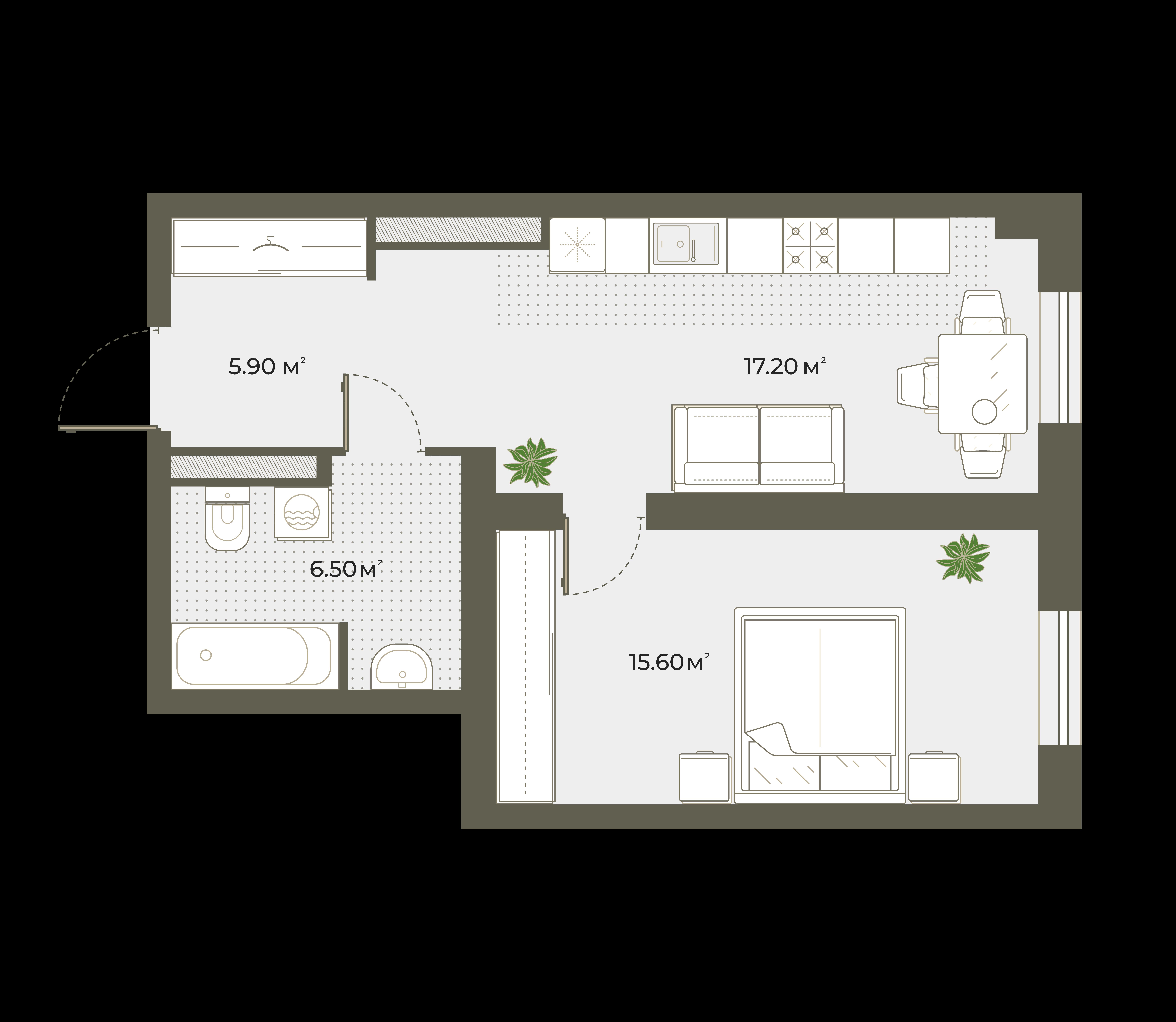2Е-к.кв, 45.2 м², 5 этаж