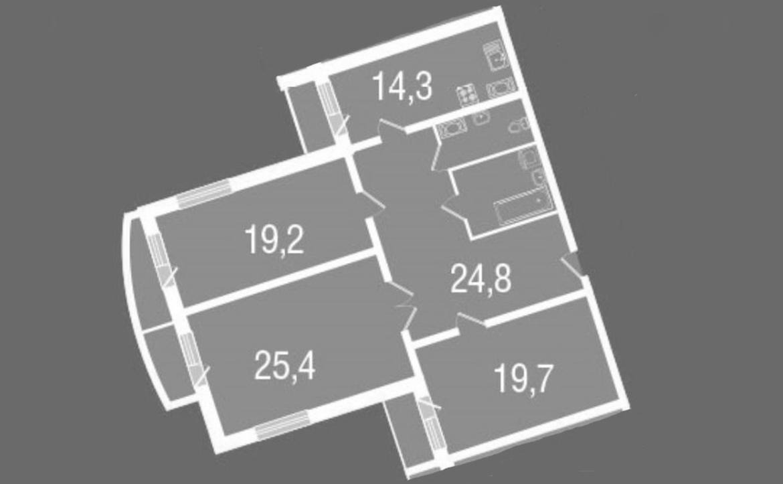 3-к.кв, 124.6 м²