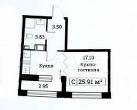 Студия, 25.91 м², 6 этаж – Планировка