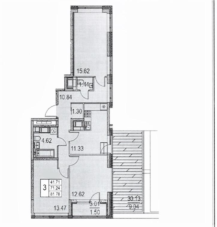 3-комнатная, 81.79 м²– 2