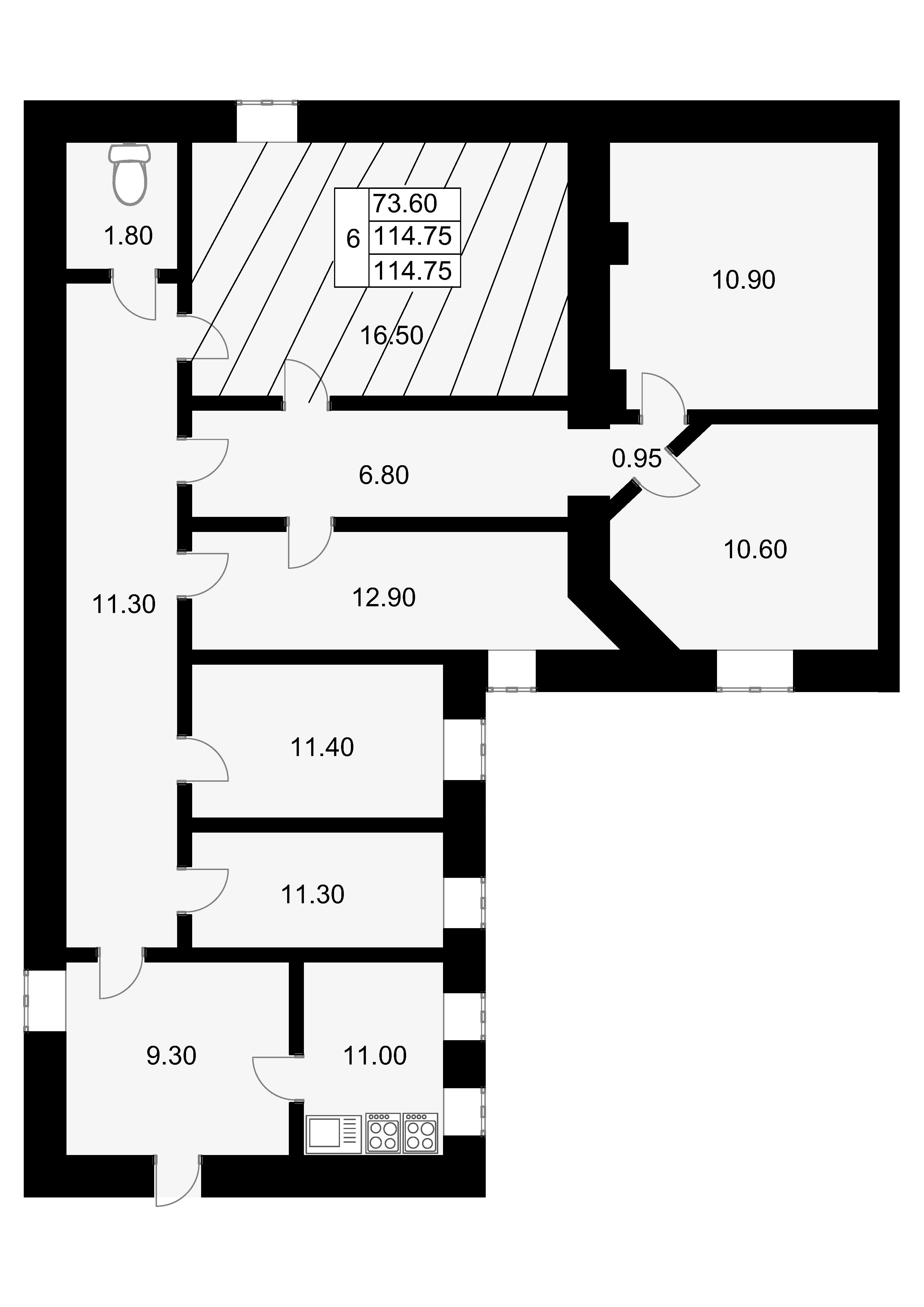 Комнаты, 114.75 м²