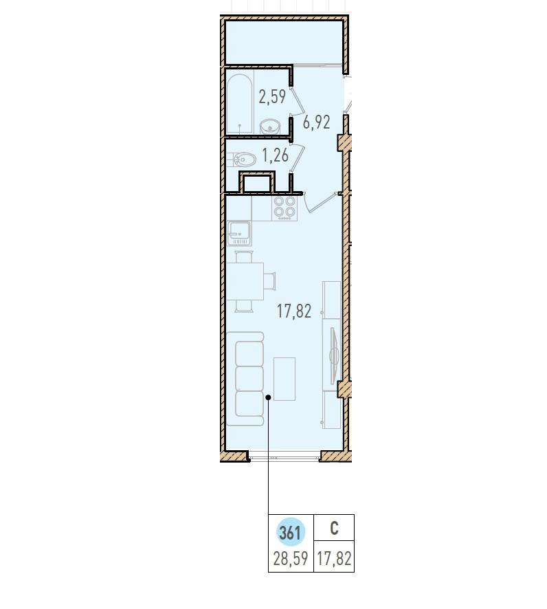 Студия, 28.59 м²