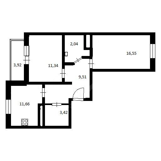 2-комнатная, 54.52 м²– 2