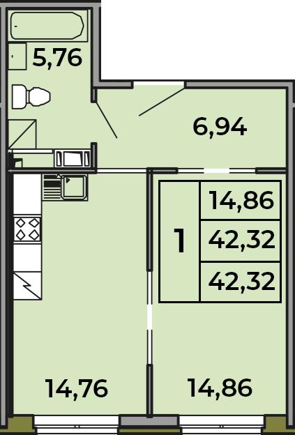 1-комнатная, 42.32 м²– 2