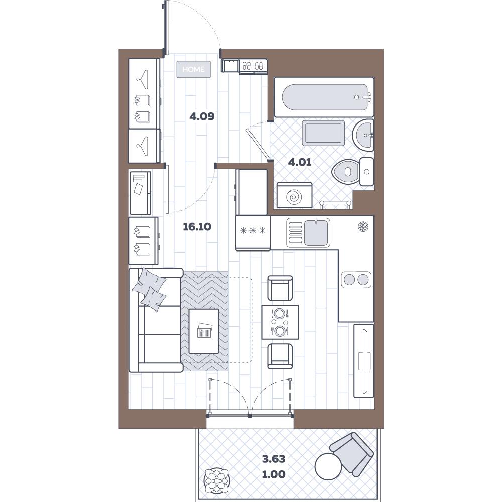 Студия, 27.53 м²